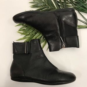 Calvin Klein | Black Leather Zip Up Ankle Boots
